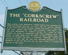 Partner Pages corkscrew railroad historical sign